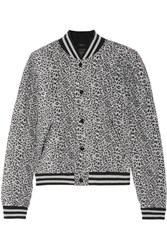 R 13 R13 Quilted Leopard Print Silk Bomber Jacket Gray