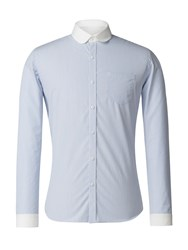 Gibson Men's Blue And White Stripe Penny Round Shirt Blue