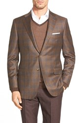 Men's Big And Tall Hickey Freeman Classic Fit Plaid Wool And Cashmere Sport Coat Brown