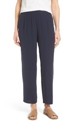 Eileen Fisher Women's Silk Georgette Crepe Straight Ankle Pants Midnight