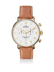 Shinola The Canfield Chronograph Leather Strap Watch Brown White