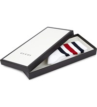 Gucci Striped Cotton Blend Socks White Blue Red