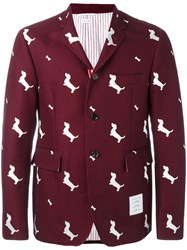 Thom Browne Dog Embroidered Blazer Pink Purple