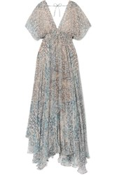 Mes Demoiselles Faience Gathered Printed Chiffon Maxi Dress Sky Blue