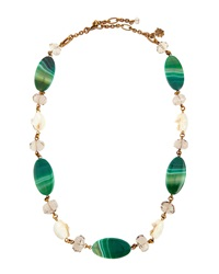 Stephen Dweck Chunky Green Agate And Quartz Necklace