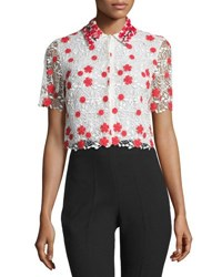 Giambattista Valli Embroidered Lace Crop Top White Red Red White