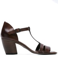 Pantanetti T Strap Sandals Brown