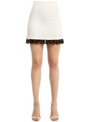 David Koma Cady And Macrame Lace Mini Skirt