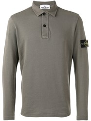 Stone Island Long Sleeve Polo Shirt Men Cotton Linen Flax Xl Grey