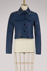 Red Valentino Leather Looped Jacket Blue