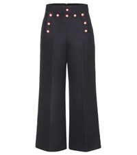 Marc Jacobs Embellished Wool Trousers Blue