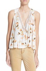 Women's Free People 'Love Potion' Floral Print Sleeveless Knit Top White Combo