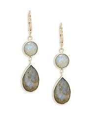 Saks Fifth Avenue 14K Yellow Gold Round And Labradorite Pear Drop Earrings No Color