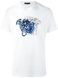 Versace Medusa Contrast Embroidery T Shirt White