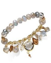 Inc International Concepts Gold Tone Beaded Charm Stretch Bracelet