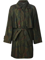 Guy Laroche Vintage Peacock Feather Print Trench Coat Green