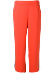 P.A.R.O.S.H. Contras Panels Cropped Trousers Red