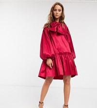 Sister Jane Oversized Mini Smock Dress With Volume Sleeves And Bow In Luxe Satin Pink
