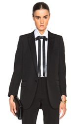 Saint Laurent Satin Lapel Tux Jacket In Black