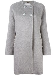 Blugirl Embellished Double Breasted Coat Grey