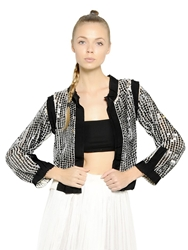 Aviu Sequin Embellished Techno Knit Cardigan Black