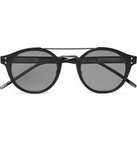 Bottega Veneta Aviator Style Acetate And Gunmetal Tone Sunglasses Black