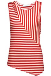 Kain Label Dudley Asymmetric Cutout Striped Stretch Modal Tank Red