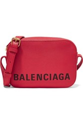 Balenciaga Ville Printed Textured Leather Shoulder Bag One Size