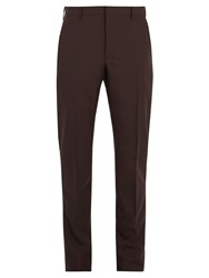 Prada Checked Slim Leg Wool Blend Trousers Burgundy
