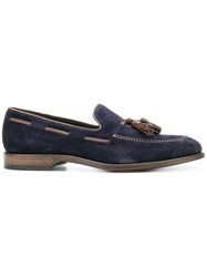 Dell'oglio Slip On Tassel Loafers Chamois Leather Leather Blue