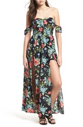 Lush Button Front Off The Shoulder Maxi Romper Navy Tropical Floral