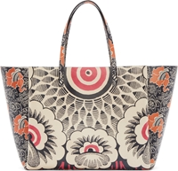 Valentino Black And Off White Retro Floral Tote