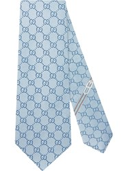 Gucci Gg Pattern Silk Tie Blue