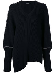 Ann Demeulemeester Long Cuff Contrast Stitch Sweater Black