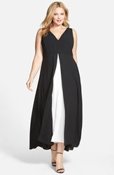 Adrianna Papell Colorblock V Neck Jumpsuit Plus Size Black Ivory