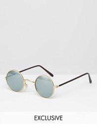 Reclaimed Vintage Round Sunglasses With Mirrored Lens Gold