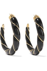 Aurelie Bidermann Diana Gold Plated Enamel Hoop Earrings Black