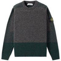 Stone Island Contrast Panel Crew Knit Grey