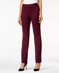 Jm Collection Ponte Pull On Pants Only At Macy's Maroon Dahlia