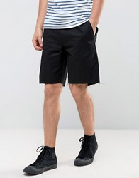 Religion Chino Shorts In Skater Fit With Raw Edge Black