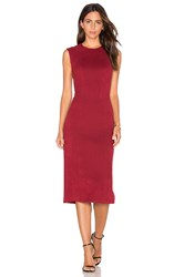 Level 99 Kimi Seamed Suede Dress Red