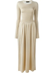 Calvin Klein Collection Ribbed Knit Maxi Dress Metallic