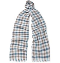 Loro Piana Checked Cashmere And Silk Blend Scarf Blue