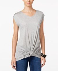 Inc International Concepts Twist Front T Shirt Only At Macy's Light Grey