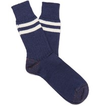 Junya Watanabe Striped Wool Socks Navy