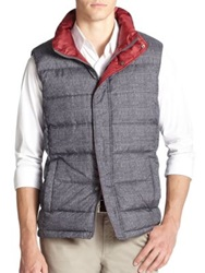 Saks Fifth Avenue Reversible Plaid Puffer Vest Grey Red