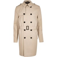River Island Mensstone Long Double Breasted Mac Coat