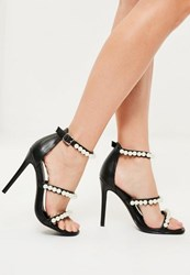 Missguided Black Pearl Embellished 3 Strap Barely There Heels