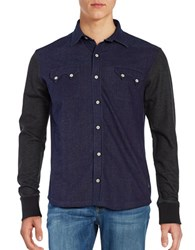Bells And Whistles Colorblock Cotton Blend Button Down Shirt Indigo