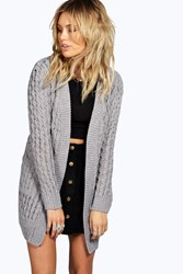 Boohoo Cable Cardigan With Pockets Grey